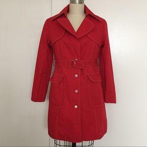 Vintage Park Avenue Red Raincoat Trench Coat